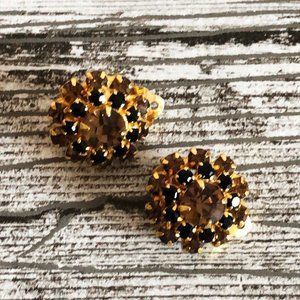 Jewelry - VTG 60s Gold Brown Rhinestone Flower Clip Earrings